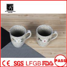 Blumenentwurf keramische Kaffeetasse, heißer Verkauf keramischer Milchbecher, keramische Becherfabrik