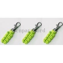 Neon green paracord zipper pull 7cm
