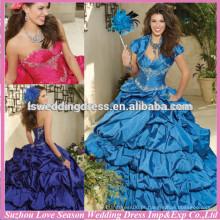HQ2023 2014 Cheap China bordado beade top camada vestido de baile sweetheart pescoço sedoso tafetá quinceanera vestido