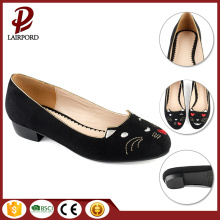 black embroidered flat comfortable shoes for women