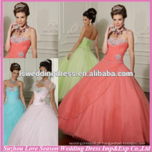 HQ2021 2014 Western barato sem mangas top de contas pesadas reunidas tulle vestido de bola de coral assimétrico padrões de vestido de quinceañera