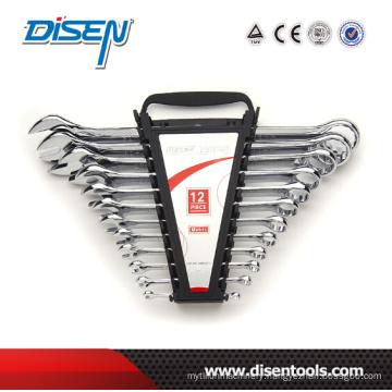 Fine Chrome Dual Plastic Clip 12PCS Combination Wrench Set