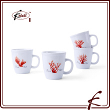 Round Cute Flower Printing Ceramic Cup With Handle