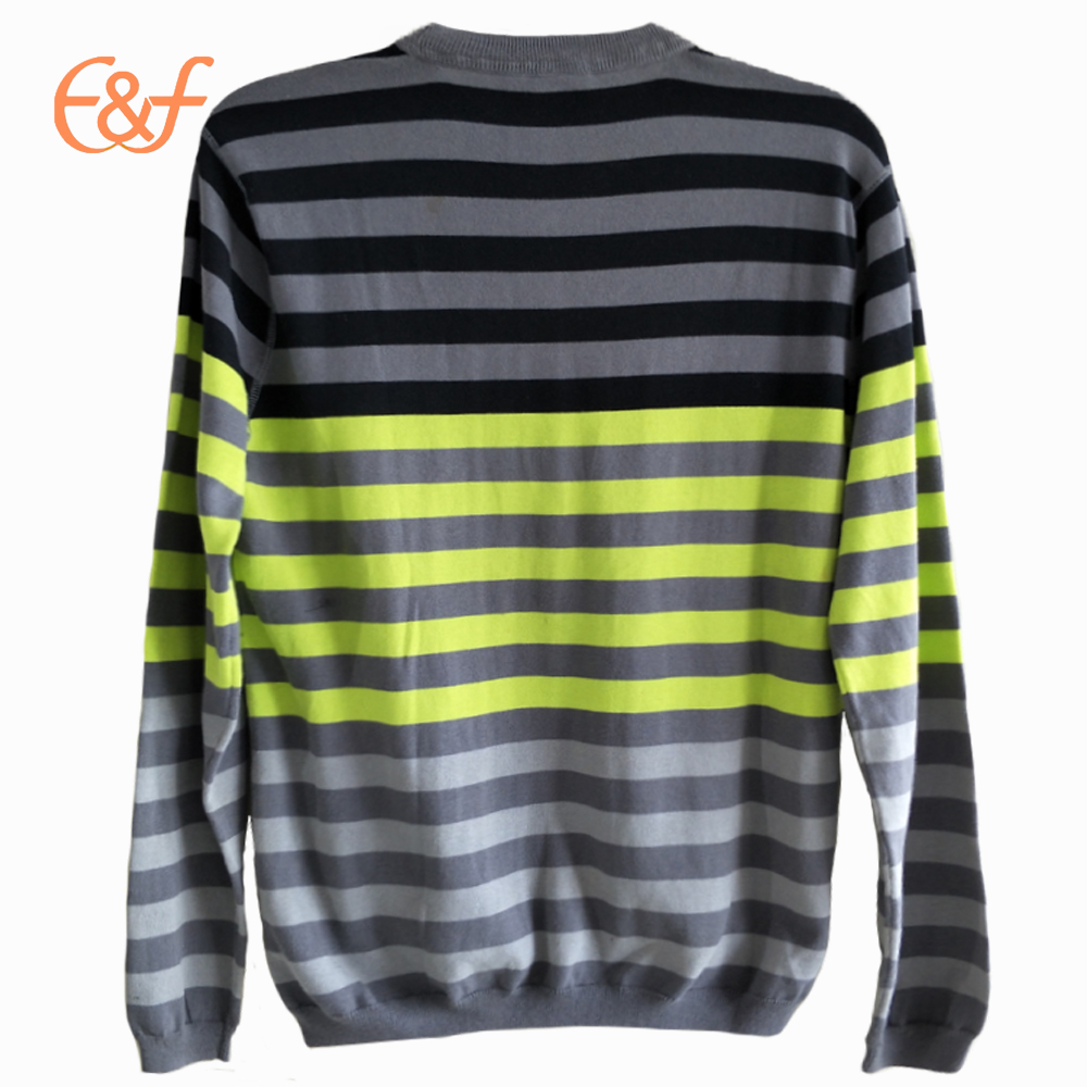 Latest Fashion Crew neck Striped Sweater Back Look