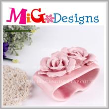 Porte-bougies en céramique de bougie en céramique rose d'OEM pour le mariage