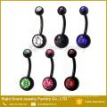 Фабрика цена 316L хирургической нержавеющей стали унисекс золота пупка кольцо кнопки