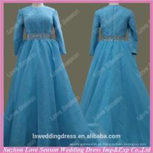 RP0067 Qualidade tecido pesado artesanal High end azul muçulmano casamento vestido sequin vintage laço vestidos de casamento manga longa em dubai