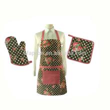 avental adulto da cozinha da impressão da lona do algodão ajustado com luva do forno e suporte do por