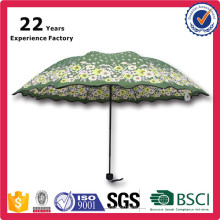 Full Color Print 3 Foldable Gift Pocke Green Floret Umbrella China Manufacturer
