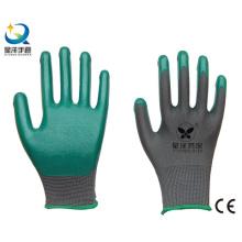 13G Nitrilgrau Polyester Shell, grün Nitril beschichtet, Arbeitshandschuhe (N6021)