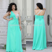 Charming 2014 Teal Color Long Plus Size Prom Dress Jeweled One-Shoulder Ruched Top Chiffon A-Line Lace-up Evening Gown NB0902