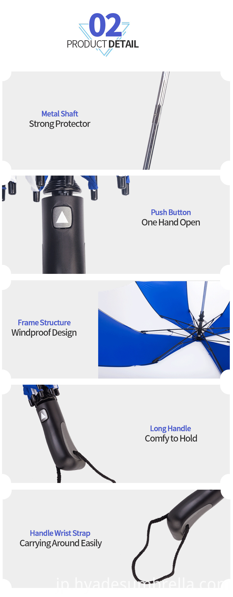 2 Folding Umbrella White And Navy Color