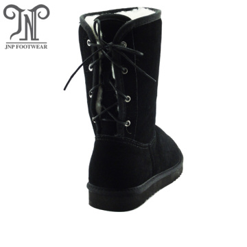 Custom Leather Back Tie up Drawstring Flat Boots