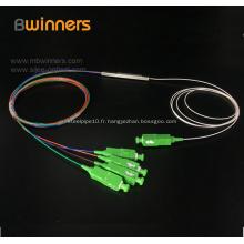 Diviseur optique de fibre de Pon Plc du tube en acier 1X4