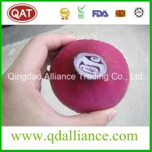 Cebolla blanca púrpura pelada fresca con el embalaje del vacío