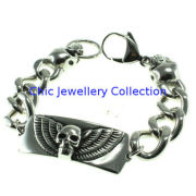 Friendship Link Stainless Steel Bracelets With Skull For Cool Man