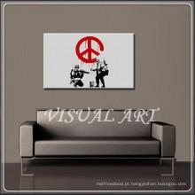 A arte da paz de Banksy imprimiu em canvas para a venda