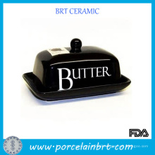 Black Galzed Ceramic Butter Dish