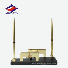 Gold plated office station set business gift name card holder
