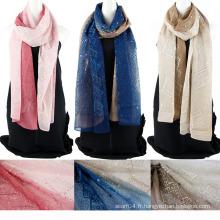 Echarpe en soie chinoise à deux tonalités en couleur avec des paillettes