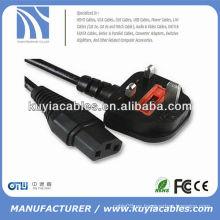 1.8m UK Cable de alimentación estándar de 3 clavijas para ordenador