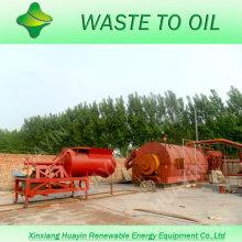 Resíduos de pneus em máquina de pirólise de petróleo bruto