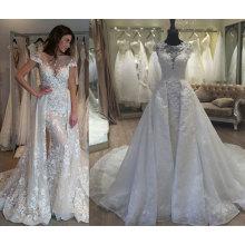 Tendy una línea / sirena desmontable tren 2 en 1 vestido de novia