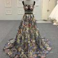 Sexy noir fleur poisson découpé Appliqued longues robes de soirée Alibaba dentelle robe de soirée