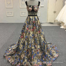 Sexy Black Flower Fish Cut Applizierte lange Abendkleider Alibaba Lace Abendkleid