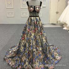 Sexy preto flor corte de peixe Appliqued longo vestidos de noite Alibaba Lace vestido de noite