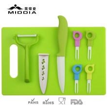 Ensemble de couverts en céramique 8PCS pour couteau à fruits / fourchettes / éplucheur / planche à découper