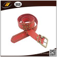 Fashion Red Rivet Lady′s Genuine Leather Belt (HJ1978)