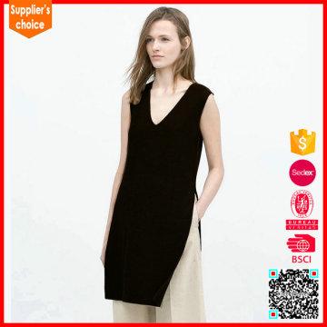 New design sleeveless v neck pullover long sweater vests for women