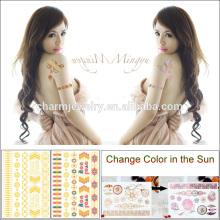 Hot Sale Summer Sunshine Tattoo Sticker Gold Changez de couleur pour adultes BS-8024