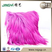 Coussin décoratif pour la peau de chèvre cheveux longs gris