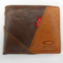 Sac à main cow-boy portefeuille patchwork brun pour hommes