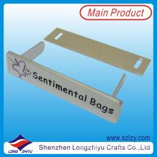 Customized Silver Engraved Logo Label for Handbag (LZY-10000368)