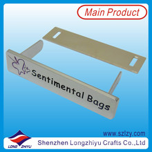 Customized Silver Engraved Logo Label for Handbag (LZY-10000368)