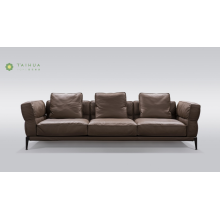 Deep Brown Metal Frame 3 Seater Leather Sofa