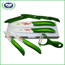 "Green Ceramic Knife Set Kitchen Cutlery Knives 3"" 4"" 5"" 6"" with Peeler"