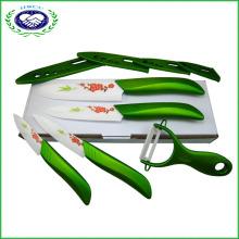 """Ножи для кухни «Зеленая керамика» Ножи для кухонной посуды 3 """"4"""" 5 """"6"""" с Peeler"""