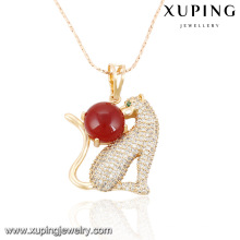 32127-Xuping Excellent quality animal leopard shape brass pendant with pearl
