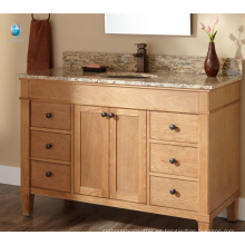 Muebles de espacio pequeño tocador de una pieza Tocador de baño Tocador de baño de madera maciza Tocador