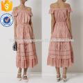 Erröten Rosa weg von der Schulter Midi Baumwollkleid Herstellung Großhandel Mode Frauen Bekleidung (TA4076D)
