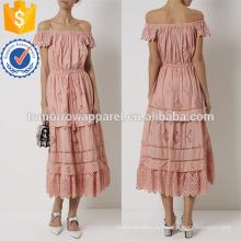 Румяна розовый с плеча Миди платье хлопок Производство Оптовая продажа женской одежды (TA4076D)