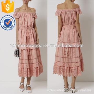 Blush Pink Off The Shoulder Midi Cotton Dress Manufacture Wholesale Fashion Women Apparel (TA4076D)