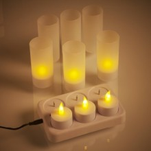 Mencerahkan flameless rechargeable LED tealight lilin