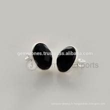 Boucles d'oreilles en argent sterling 925 en argent sterling noir Onyx, boucles d'oreilles en pierres précieuses naturelles Fournisseur de bijoux