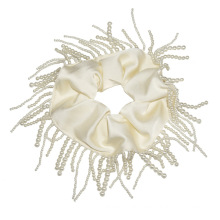 Pearl Tassel Scrunchies For Women Solid Designer Fabric New Hair Accessories Tie Bow Elastic Band For Girl Wholesale