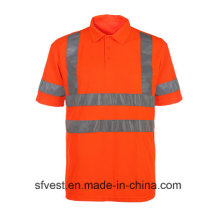 Class 3 Traffic Safety Reflective Polo Vest with V Neck En ISO